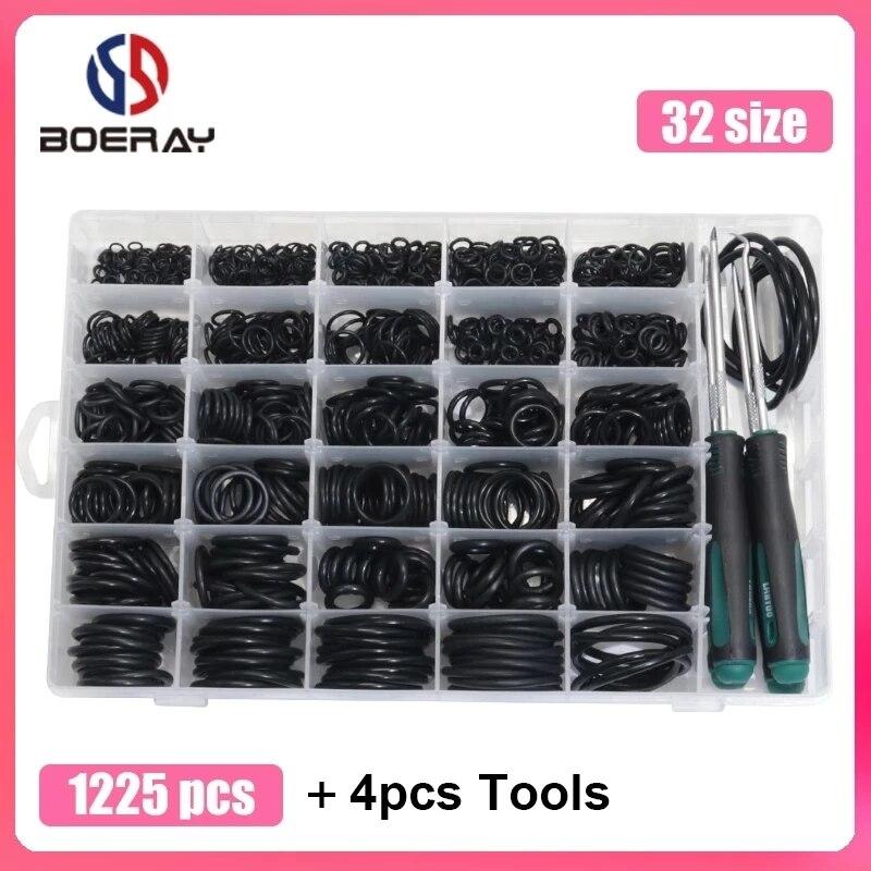1225pcs O Ring Kit + 4pcs Tools NBR Sealing Rings Nitrile Rubber Ring Gasket 32 Sizes O Rings Seal Set